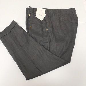 Ellen Tracy Washable Linen Drawstring Trouser